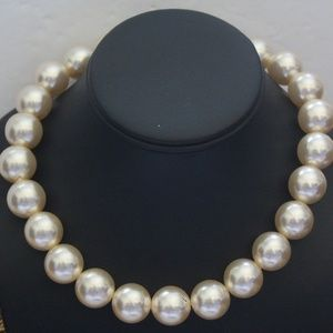 CHAMPAGNE LARGE BEAD CHOKER LOVELY NECKLACE NPL3
